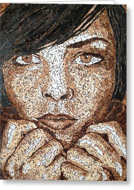 Mosaic Portraits Mixed Media Greeting Cards - Scrabble Sepia Greeting Card by Monique Sarfity