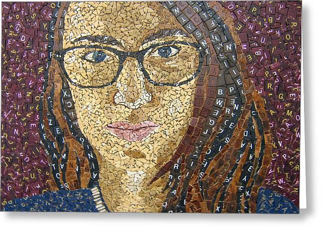 Mosaic Glass Portrait Mixed Media Greeting Cards - Scrabble Tile Portrait Greeting Card by Monique Sarfity