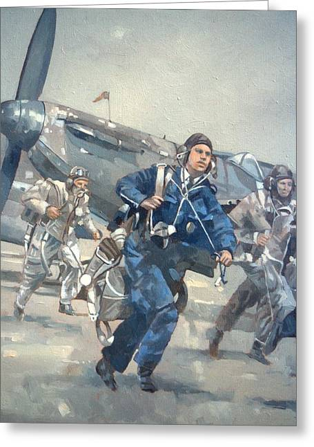 Bravery Greeting Cards - Scramble For The Skies Oil On Canvas Greeting Card by Peter Miller