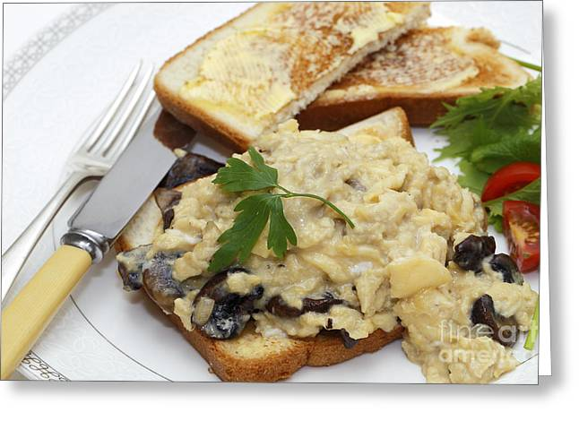 Scrambled Egg With Mushrooms Meal Greeting Card by Paul Cowan
