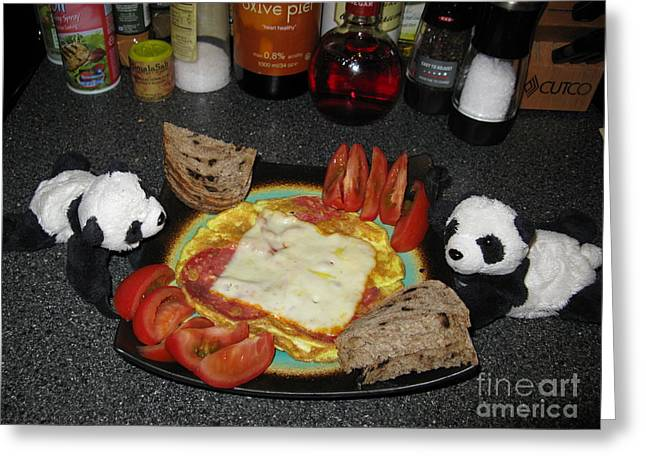 Pandute Digital Art Greeting Cards - Scrambled Eggs Salami and Cheese for Breakfast. Travelling Baby Pandas Series. Greeting Card by Ausra Paulauskaite