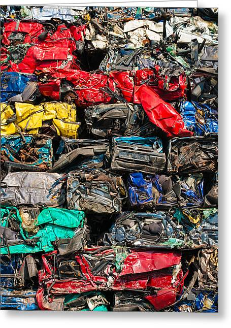 Wrecked Cars Greeting Cards - Scrap cars colorful heap Greeting Card by Matthias Hauser