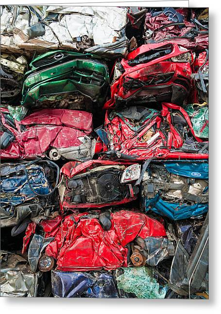 Wrecked Cars Greeting Cards - Scrap cars Greeting Card by Matthias Hauser