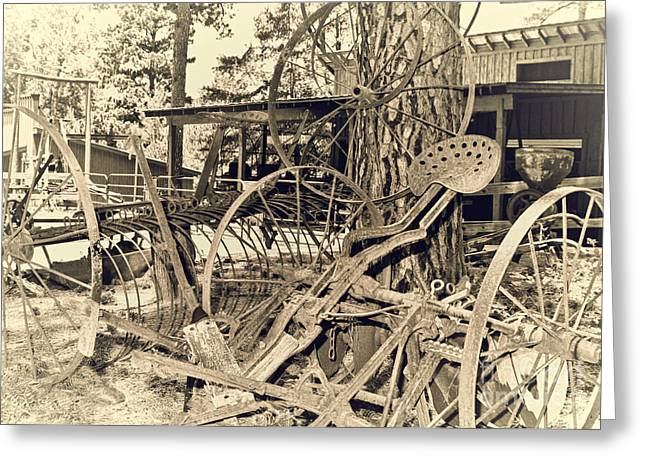Hay Rake Greeting Cards - Scrap-Iron Greeting Card by Robert Frederick