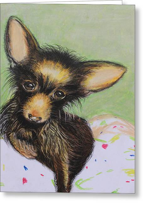 Small Dog Pastels Greeting Cards - Scrapper Greeting Card by Jeanne Fischer