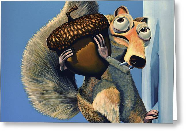 Dinosaurs Greeting Cards - Scrat of Ice Age Greeting Card by Paul Meijering