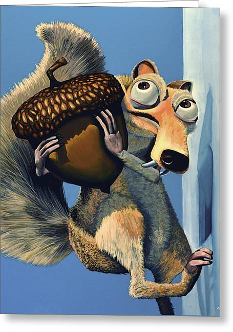 Michael Paintings Greeting Cards - Scrat of Ice Age Greeting Card by Paul Meijering