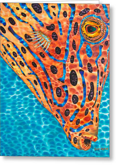 Tropical Fish Greeting Cards - Scrawled File Fish Greeting Card by Daniel Jean-Baptiste