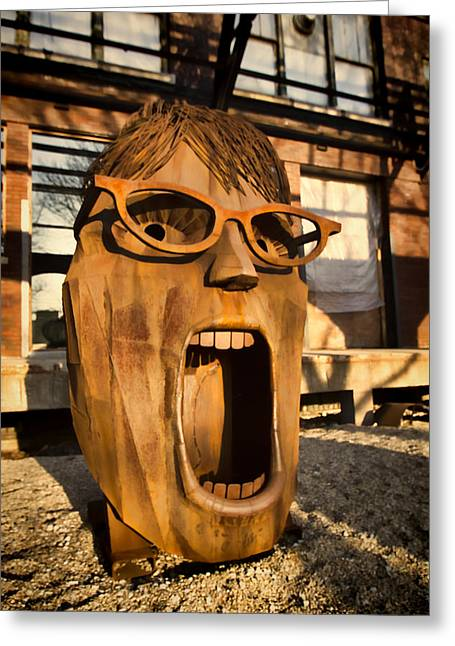 Wooden Sculpture Greeting Cards - Screamer  Greeting Card by Sven Brogren