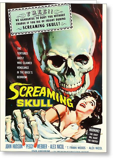 Screaming Mixed Media Greeting Cards - Screaming Skull Movie Poster 1958 Greeting Card by Mountain Dreams