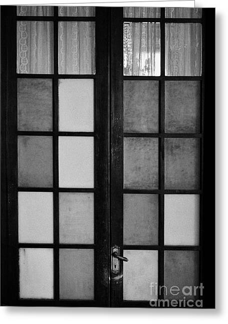 Screen Doors Greeting Cards - screen door in traditional old house in the barrio paris londres Santiago Chile Greeting Card by Joe Fox