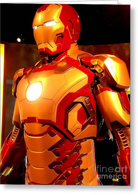 Movie Prop Photographs Greeting Cards - Screen used Iron Man costume 2 Greeting Card by Micah May