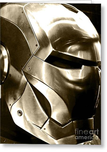 Movie Prop Photographs Greeting Cards - Screen used Iron Man Helmet 10 Greeting Card by Micah May