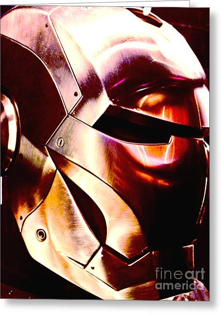 Movie Prop Greeting Cards - Screen used Iron Man Helmet 12 Greeting Card by Micah May