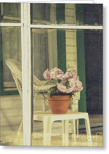 Wicker Furniture Greeting Cards - Screened Porch Greeting Card by Margie Hurwich