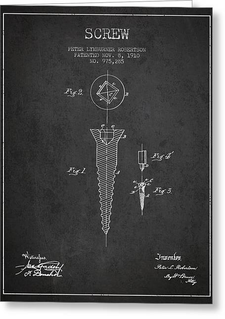 Screwing Greeting Cards - Screw patent drawing from 1910 - Dark Greeting Card by Aged Pixel