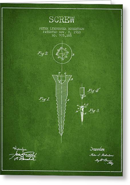 Screwing Greeting Cards - Screw patent drawing from 1910 - Green Greeting Card by Aged Pixel
