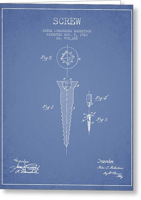 Screwing Greeting Cards - Screw patent drawing from 1910 - Light Blue Greeting Card by Aged Pixel
