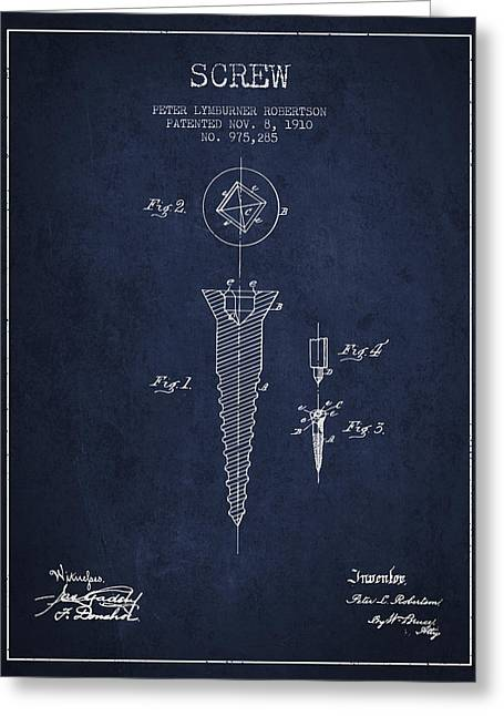 Screwing Greeting Cards - Screw patent drawing from 1910 - Navy Blue Greeting Card by Aged Pixel