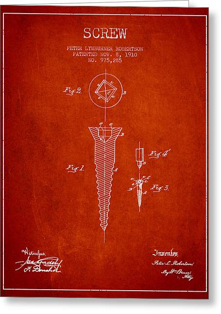 Screwing Greeting Cards - Screw patent drawing from 1910 - Red Greeting Card by Aged Pixel