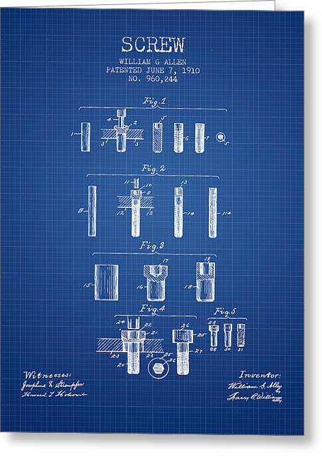 Screwing Greeting Cards - Screw patent from 1910 - Blueprint Greeting Card by Aged Pixel