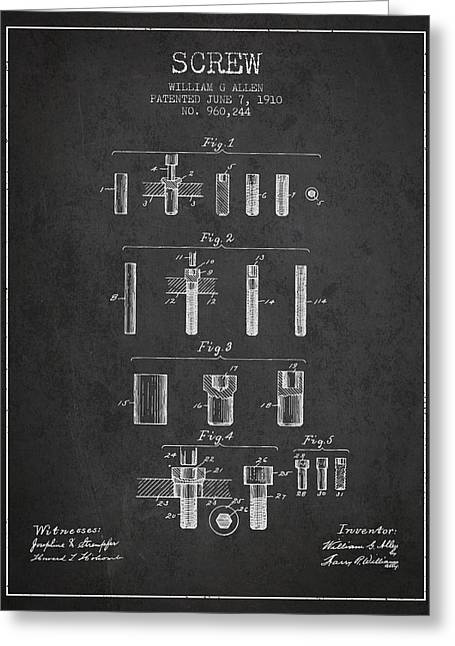 Screwing Greeting Cards - Screw patent from 1910 - Dark Greeting Card by Aged Pixel