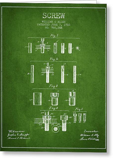 Screwing Greeting Cards - Screw patent from 1910 - Green Greeting Card by Aged Pixel