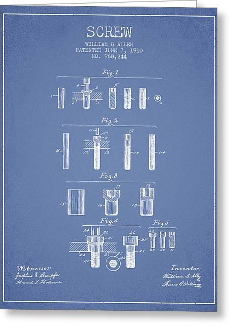 Screwing Greeting Cards - Screw patent from 1910 - Light Blue Greeting Card by Aged Pixel