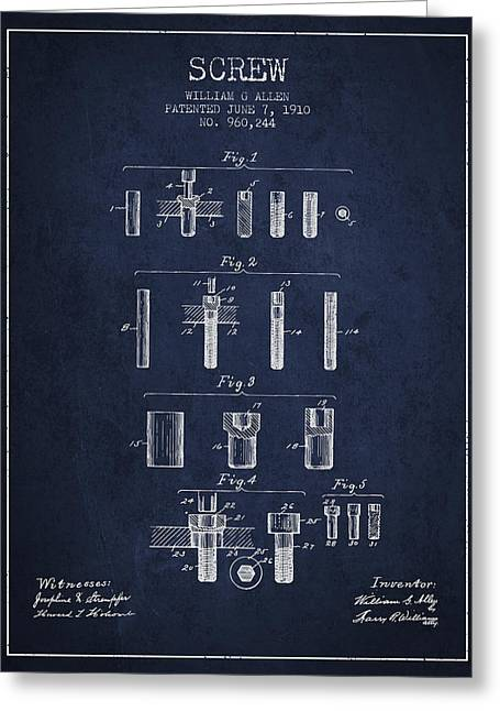 Screwing Greeting Cards - Screw patent from 1910 - Navy Blue Greeting Card by Aged Pixel