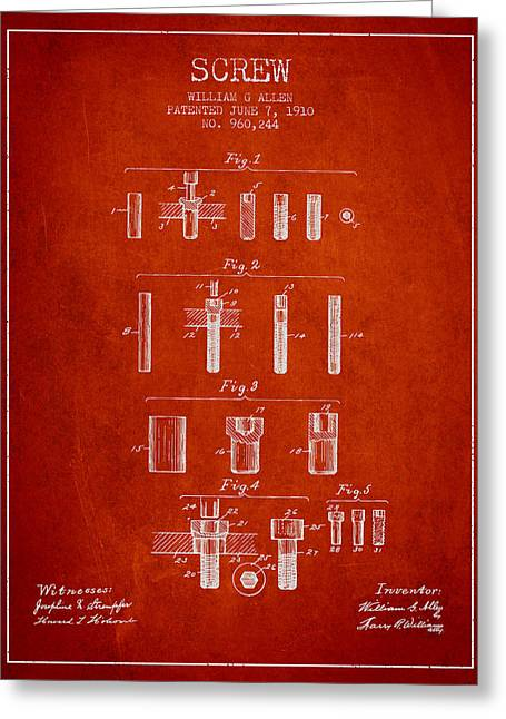 Screwing Greeting Cards - Screw patent from 1910 - Red Greeting Card by Aged Pixel