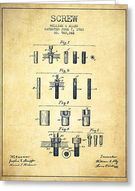 Screwing Greeting Cards - Screw patent from 1910 - Vintage Greeting Card by Aged Pixel