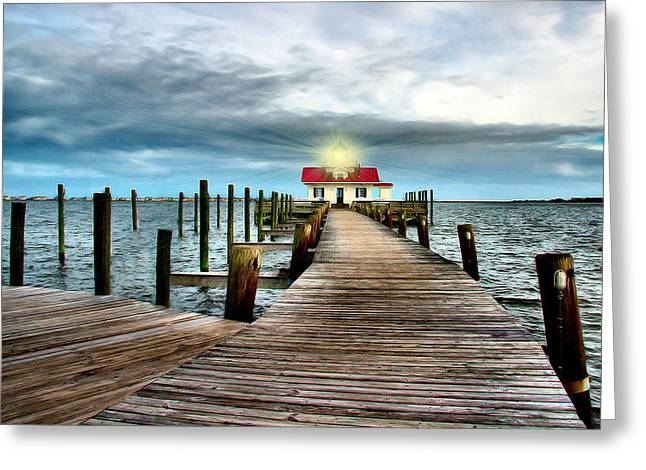 Screw-pile Lighthouse Greeting Card by Nadine Lewis