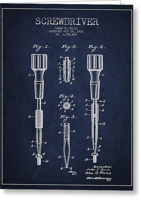 Craftsman Greeting Cards - Screwdriver Patent Drawing From 1921 Greeting Card by Aged Pixel