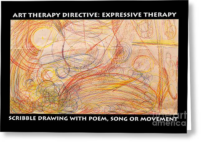 Therapy Pastels Greeting Cards - Scribble and  Poem expressive therapy Greeting Card by Anne Cameron Cutri