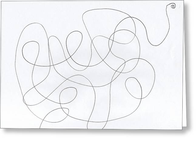 Split Drawings Greeting Cards - Scribble for Banana Split Greeting Card by Ismael Cavazos