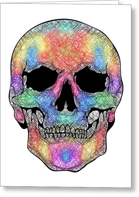 Scull Greeting Cards Greeting Cards - Scribble Skull Greeting Card by Mauro Celotti