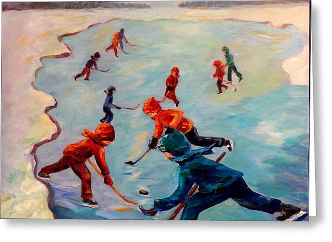 Hockey Paintings Greeting Cards - Scrimmages on Our Lake Greeting Card by Naomi Gerrard