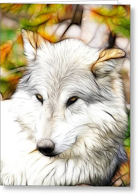 Preditor Greeting Cards - Scrimshaw Wolf Greeting Card by Steve McKinzie