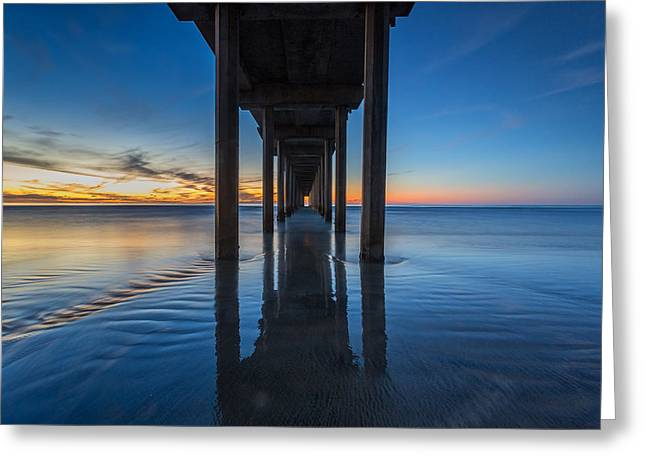 La Jolla Surfers Greeting Cards - Scripps Pier Blue Hour Greeting Card by Peter Tellone