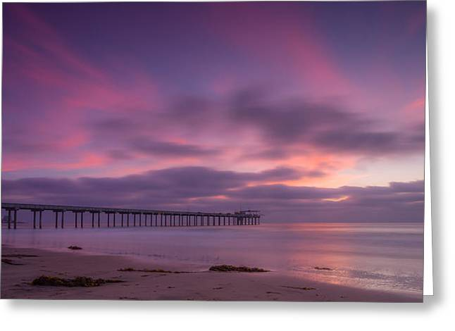 La Jolla Surfers Greeting Cards - Scripps Pier Colors Greeting Card by Peter Tellone