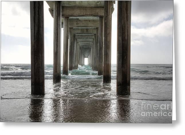 Sand Greeting Cards - Scripps Pier Greeting Card by Eddie Yerkish