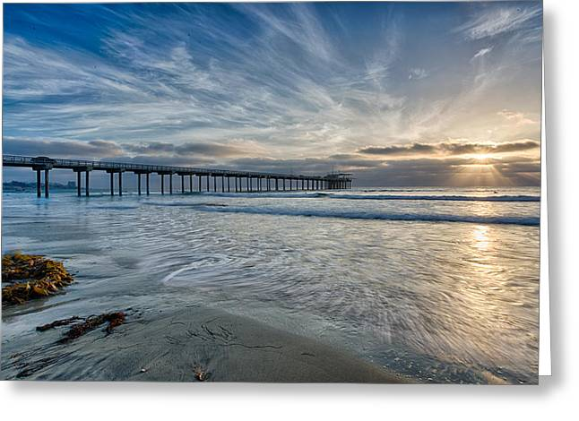Recently Sold -  - Ocean. Reflection Greeting Cards - Scripps Pier Sky and Motion Greeting Card by Peter Tellone