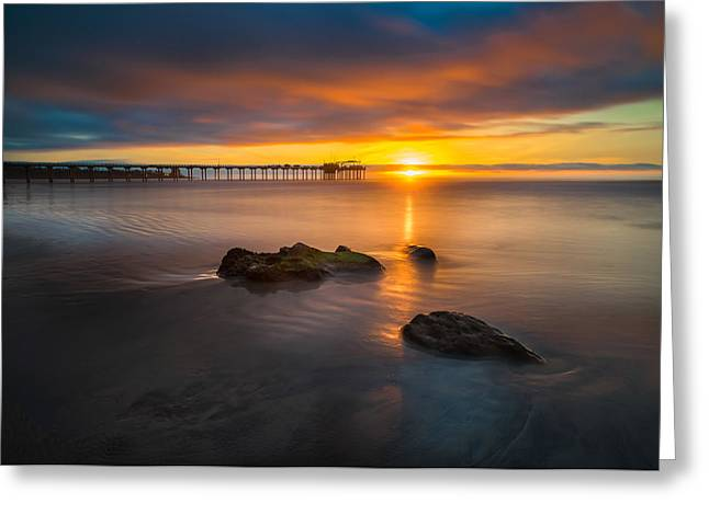 Pacific Greeting Cards - Scripps Pier Sunset 2 Greeting Card by Larry Marshall