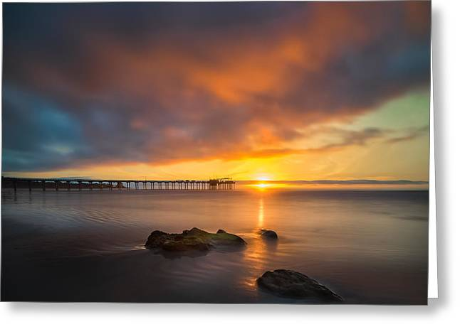 Ocean. Reflection Greeting Cards - Scripps Pier Sunset 2 - Square Greeting Card by Larry Marshall