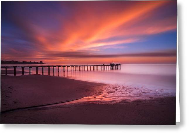Marshall Greeting Cards - Scripps Pier Sunset Greeting Card by Larry Marshall
