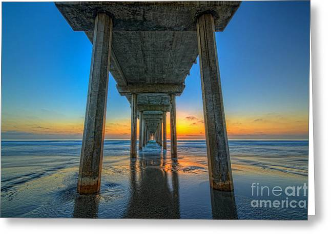 Ver Sprill Photographs Greeting Cards - Scripps Pier Sunset Greeting Card by Michael Ver Sprill