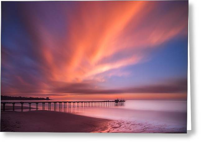 Red Photographs Greeting Cards - Scripps Pier Sunset - Square Greeting Card by Larry Marshall