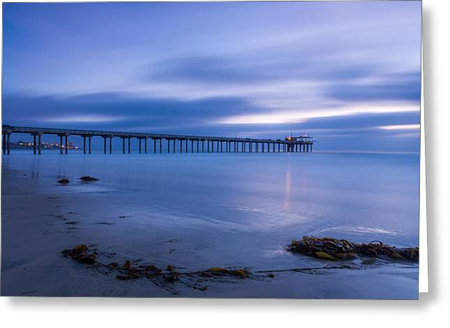 La Jolla Surfers Greeting Cards - Scripps Pier Twilight - Color Greeting Card by Peter Tellone