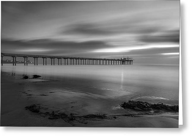 La Jolla Surfers Greeting Cards - Scripps Pier Twilight - Black and White Greeting Card by Peter Tellone