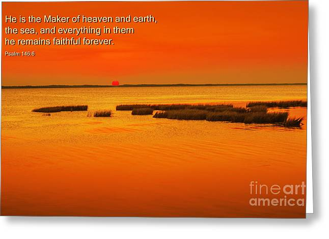 Book Of Psalms Greeting Cards - Scripture Verse Sunset Greeting Card by Randy Steele